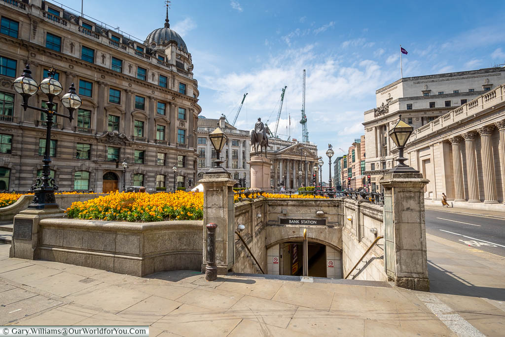 The entrance to Bank underground tube station between Cornhill & Threadneedle Street
