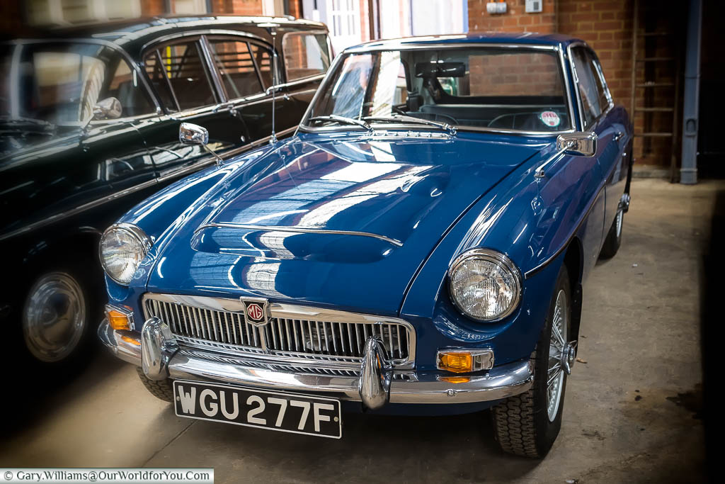 A 1960's Royal Blue MGC sports car owned by Prince Charles in the Sandringham Museum on the Royal Estate.