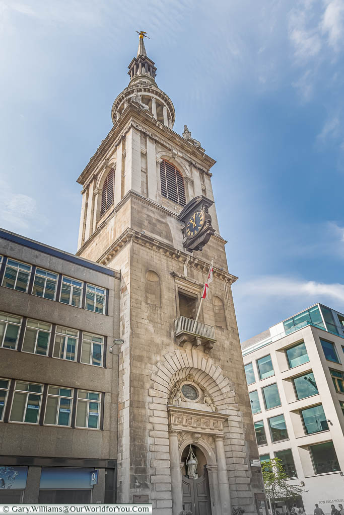 The bell tower of the Church of St Mary-le-Bow, off Cheapside.