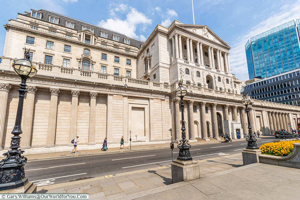 The Bank of England building as seen from Threadneedle Street, close to Bank station
