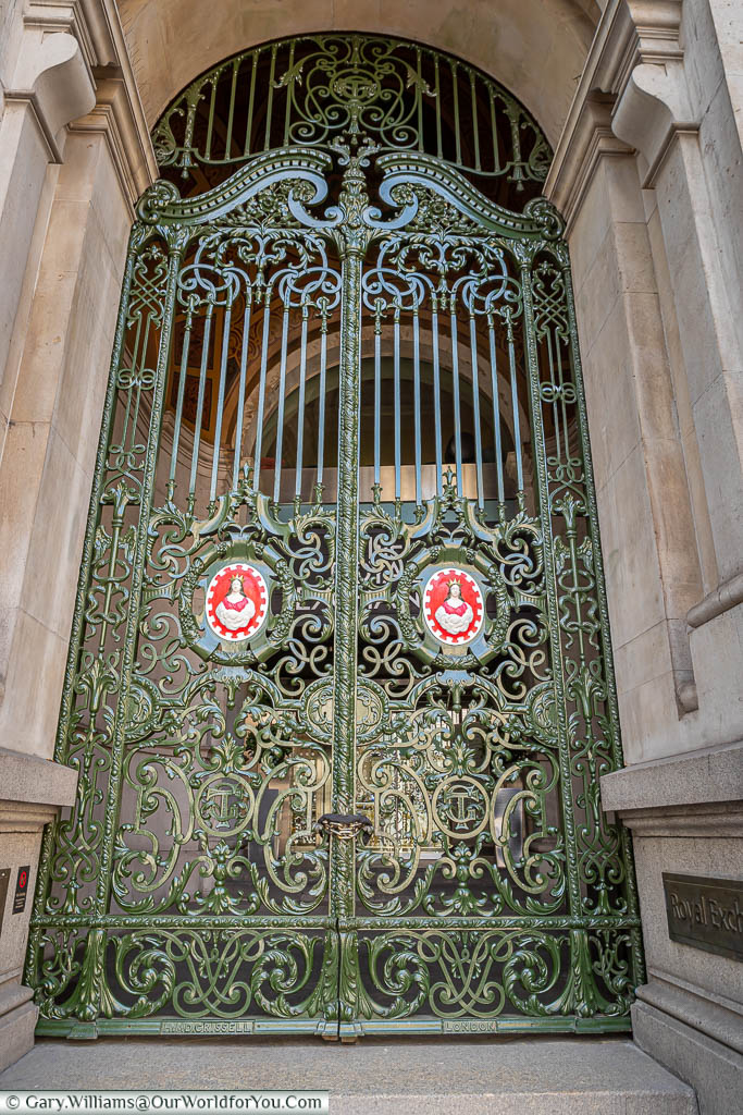 A close up of the iron gates at one of the entrances to the Royal Exchange