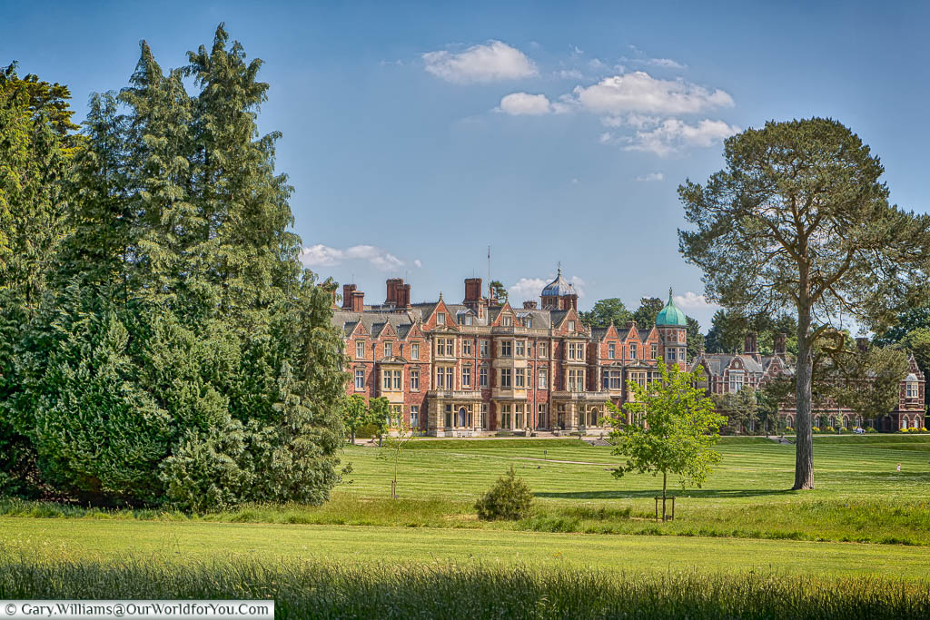 The view of Sandringham House as you stroll from the gravel path at the entrance