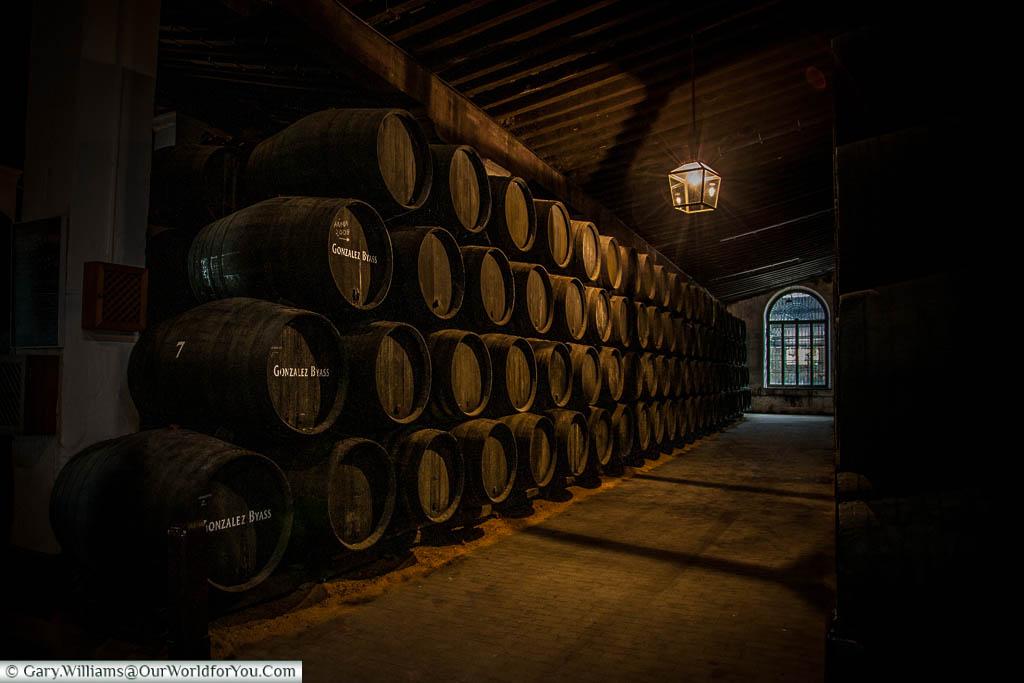 Gonzalez Byass Barrels in a warehouse in Jerez, Spain