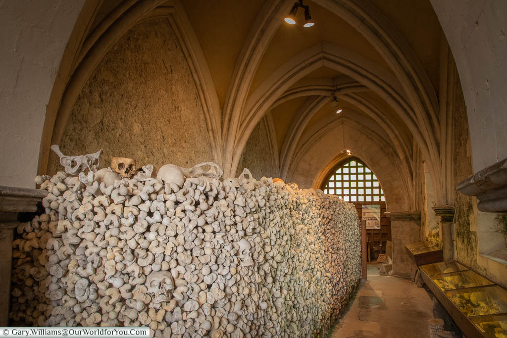 A stack of human bones at the ossuary at St Leonard's Church in Hythe, Kent