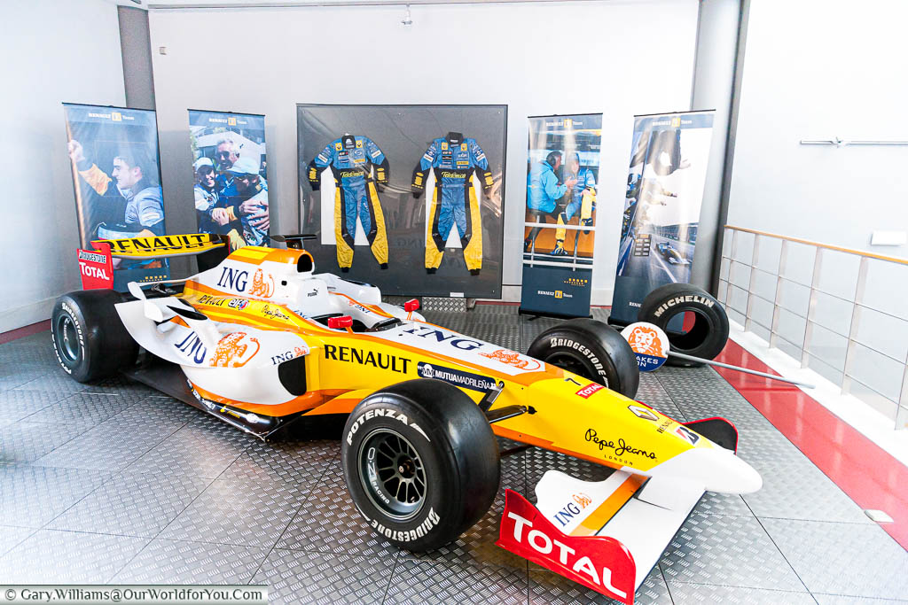 A Renault Formula 1, as driven by Spanish hero Fernando Alonso, on display in the Museum of Automotive History in Salamanca Spain
