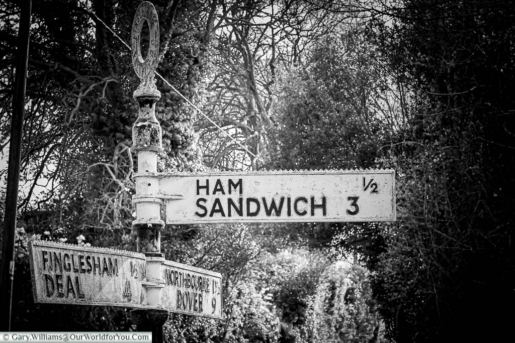 The famous Ham Sandwich road signed just outside the hamlet of Ham that also points towards the coastal town of Sandwich.