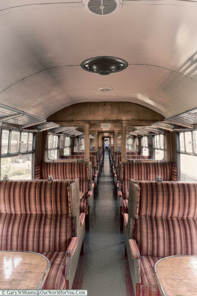 Inside a carriage of the steam train at the North Norfolk Railway.