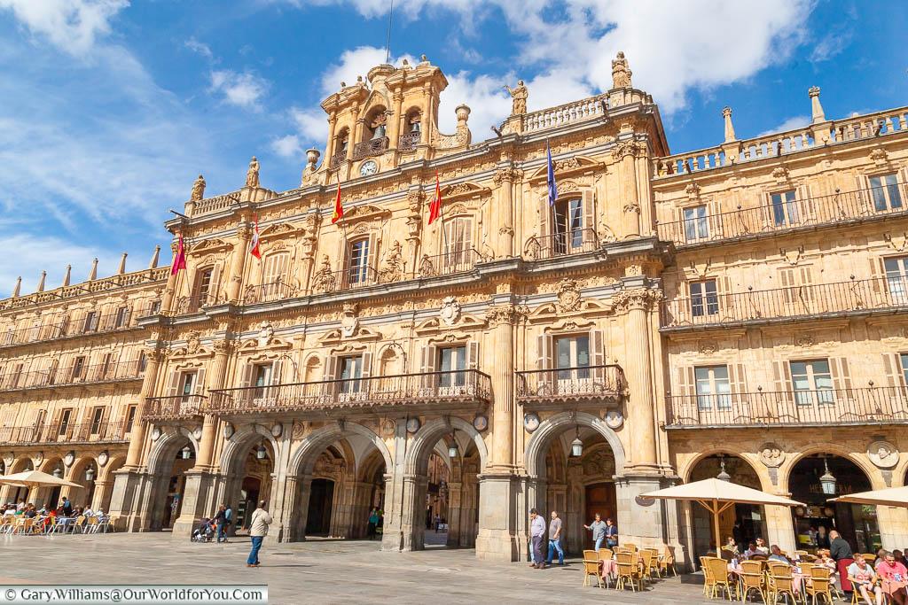 The Ayuntamiento de Salamanca, or town hall, in Salamanca, Spain with its ornate Spanish baroque facade.