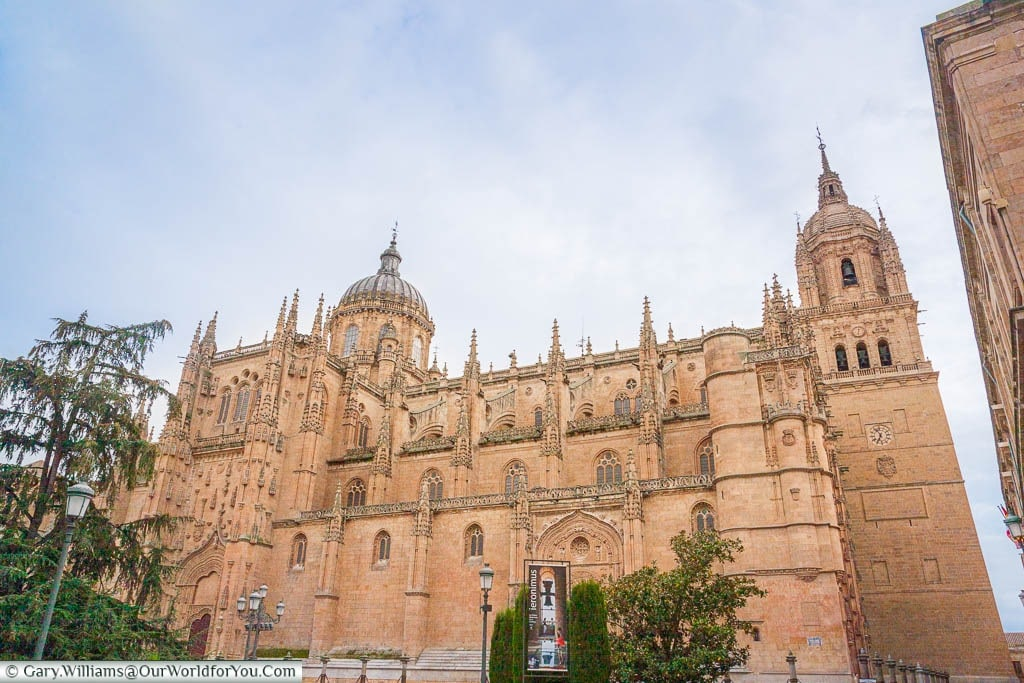 The towering joint Cathedrals of Salamanca, Spain