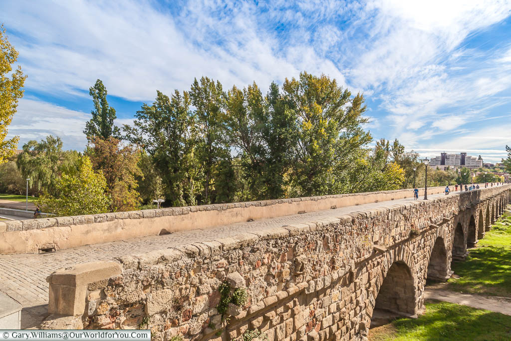 The many arches of the stone Roman bridge of Salamanca, spanning the Tormes river.