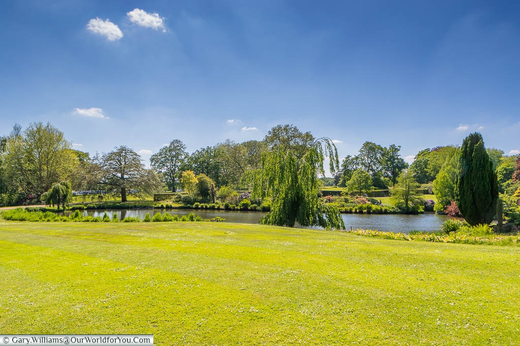 The duck pond at Sandringham House from the beautifully manicured lawns, under a deep blue sky.