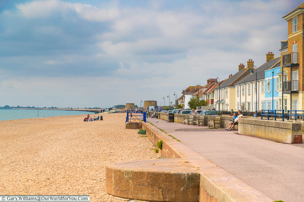 The seafront alongside Marine Parade in Hythe, Kent