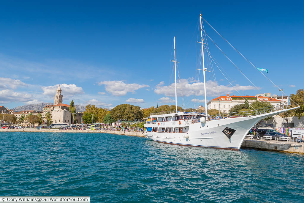 A large tourist schooner moored up at the harbour in Split, Croatia