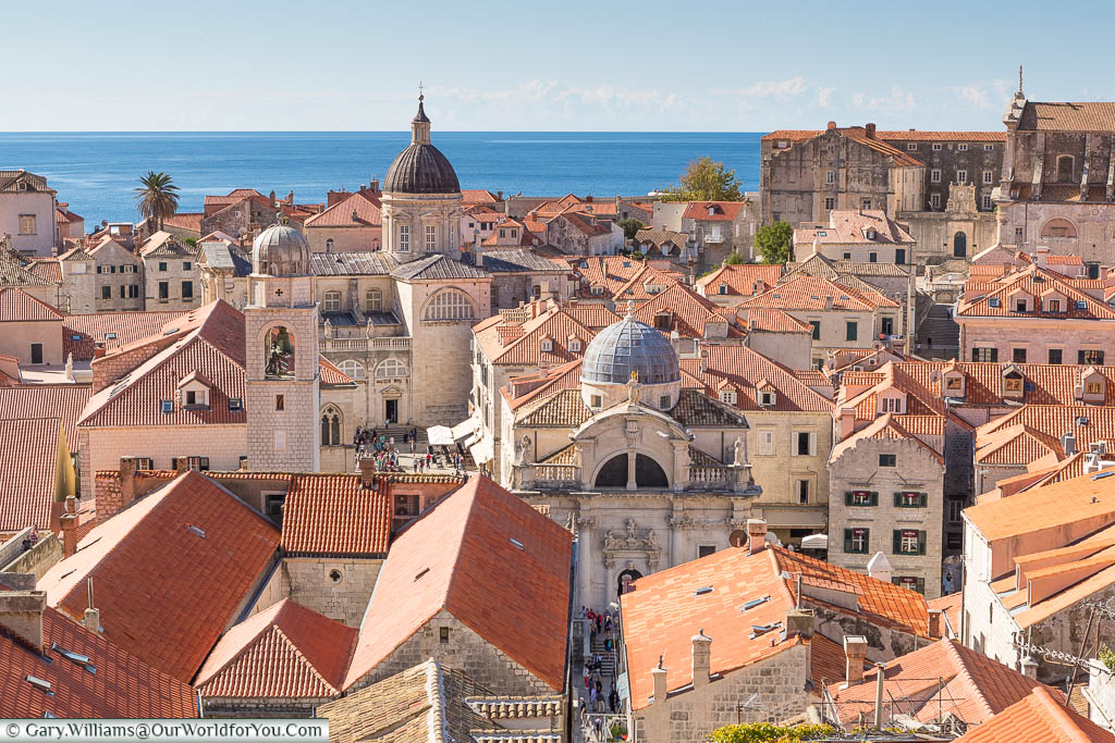 A view over the terracotta rooftops of the historic centre of the UNESCO old city of Dubrovnik looking out to the Adriatic seaÉ