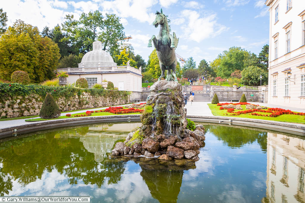 The Pegasus fountain in the Mirabell Palace Gardens, Salzburg, Austria