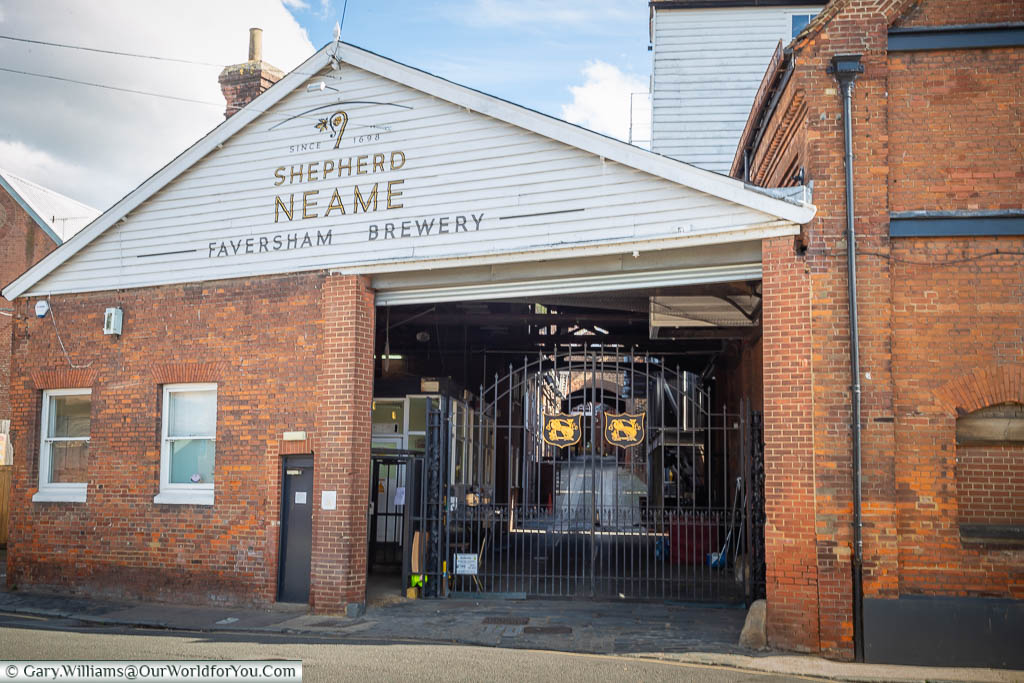The rear gate of the Shepherd Neame Brewery in Faversham, Kent