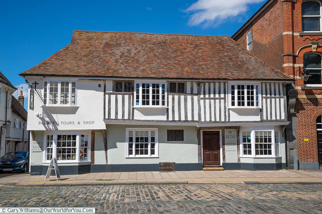 The Shepherd Neame Brewery visitors centre in a historic half-timbered building in Faversham, Kent