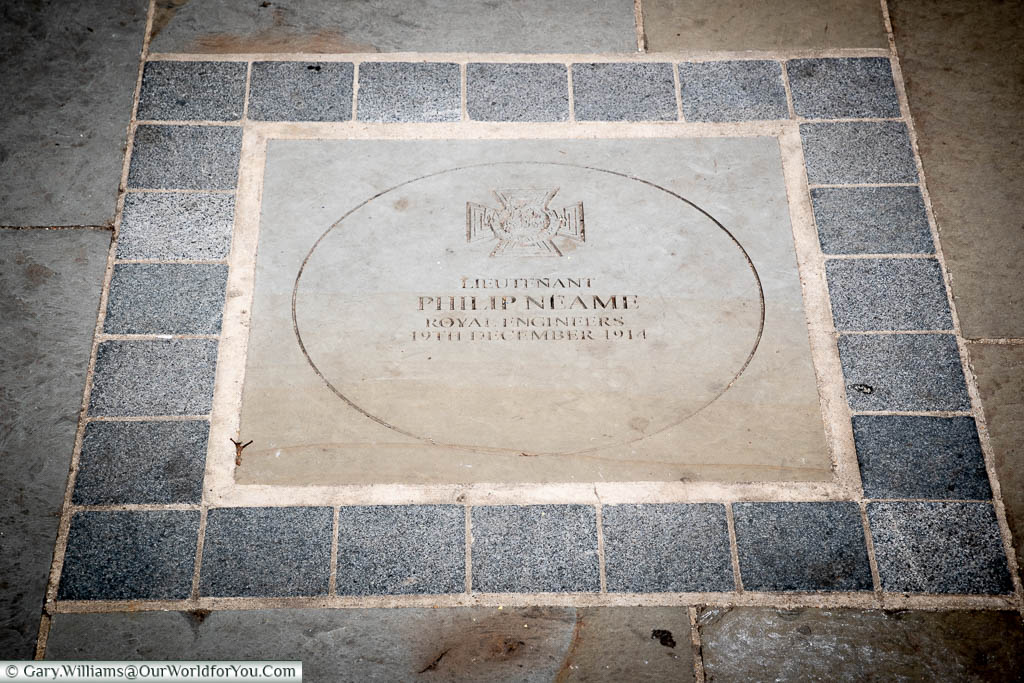 The stone plaque to Sir Philip Neame, recipient of the VC and an Olympic gold medal and resident of Faversham, Kent