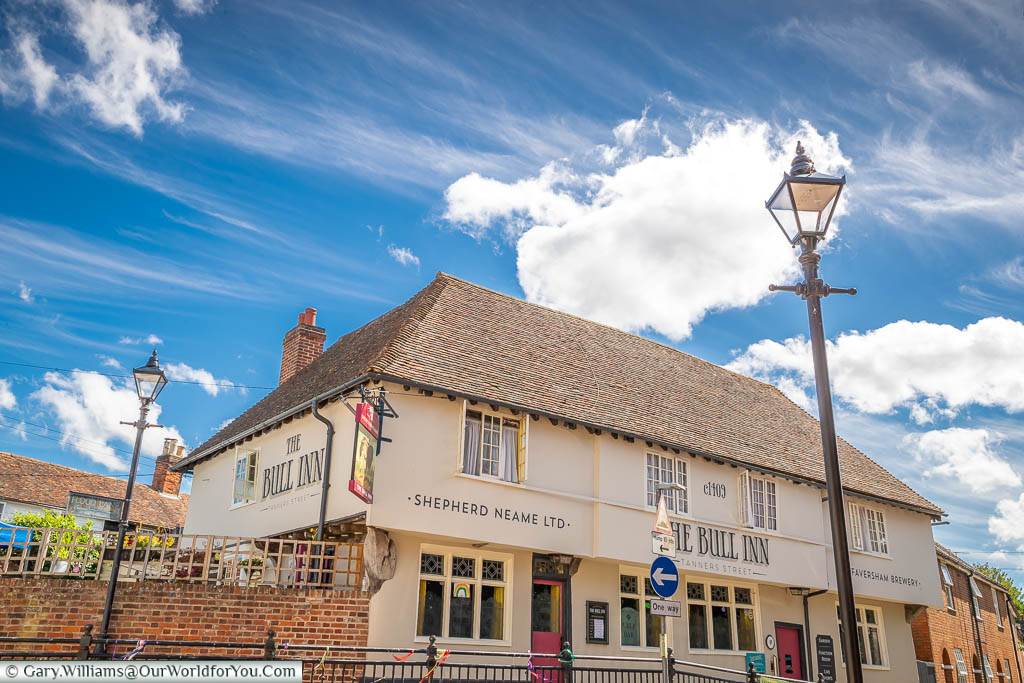 A close up of the historic Bull Inn in Faversham, that is said to date from circa 1409.
