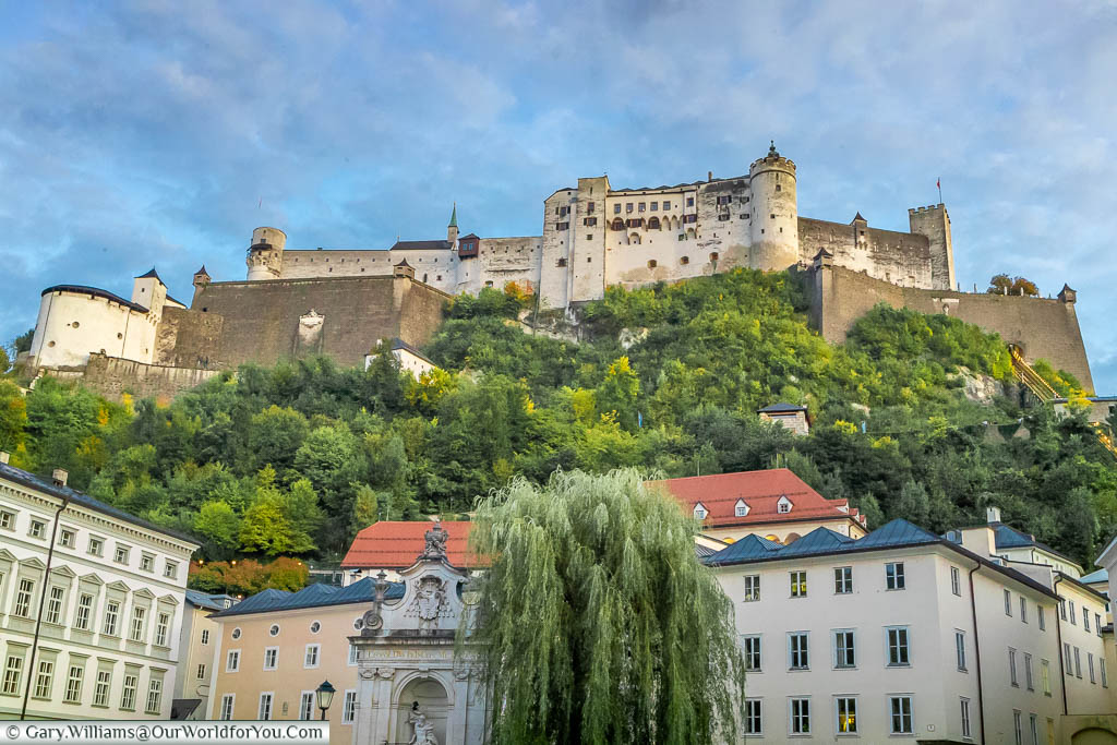 Looking up at the Salzburg Castle in the early evening