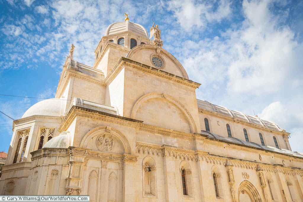 Looking up at the UNESCO listed Cathedral of St James in Šibenik