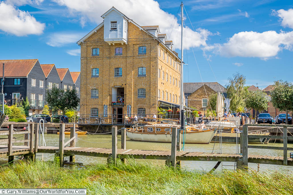 The view from the strangely named Front Brents across Faversham Creek to the converted warehouses