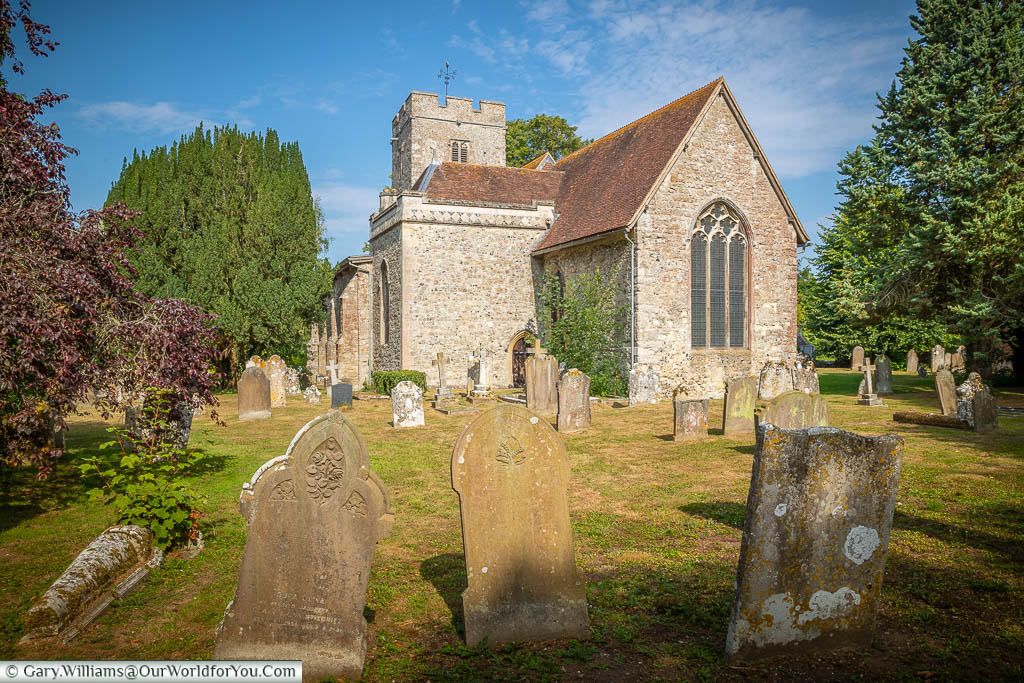 Gravestones in front of All Saints Church in Hollingbourne, Kent