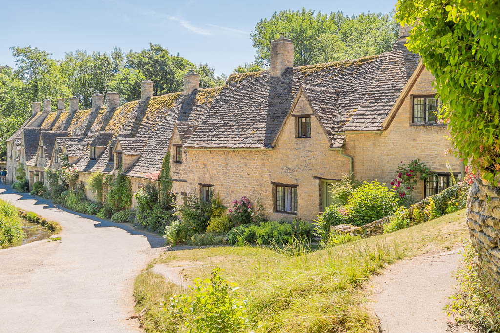Looking down at the stone cottages of Arlington Row in Bibury