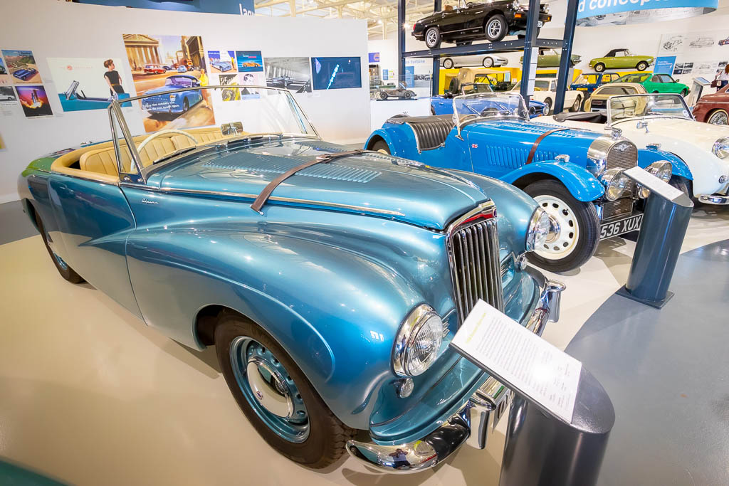 A collection of historic convertible cars in the British Motor Museum
