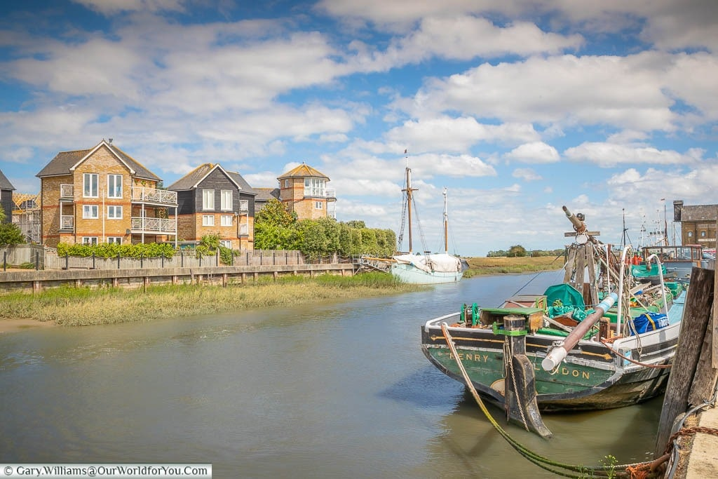 Historic boats moored up on Faversham Creek at Standard Quay