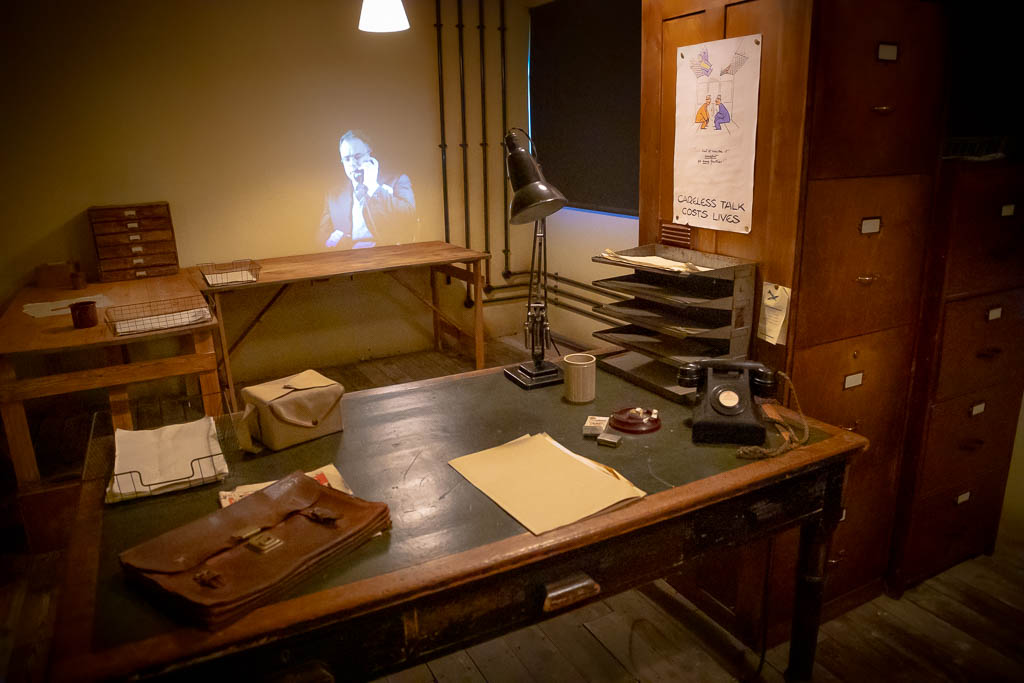 A hologram projected in mocked-up office in one of the huts of Bletchley Park