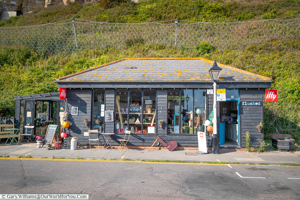 A small gift shop in the Rock-a-Nore region of Hastings offering antiques & bric-a-brac, snacks and ice creams