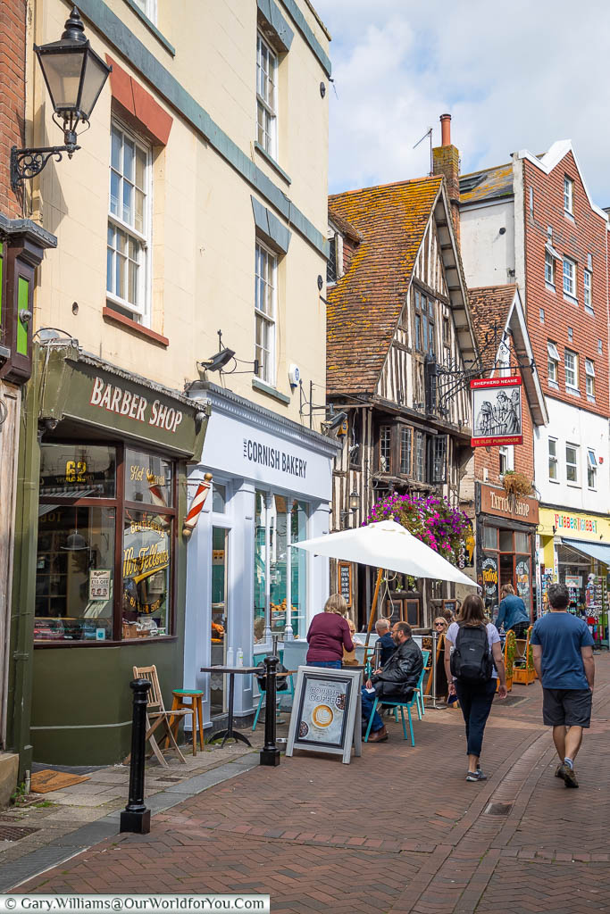 Strolling along the historic George Street in the old town of Hastings