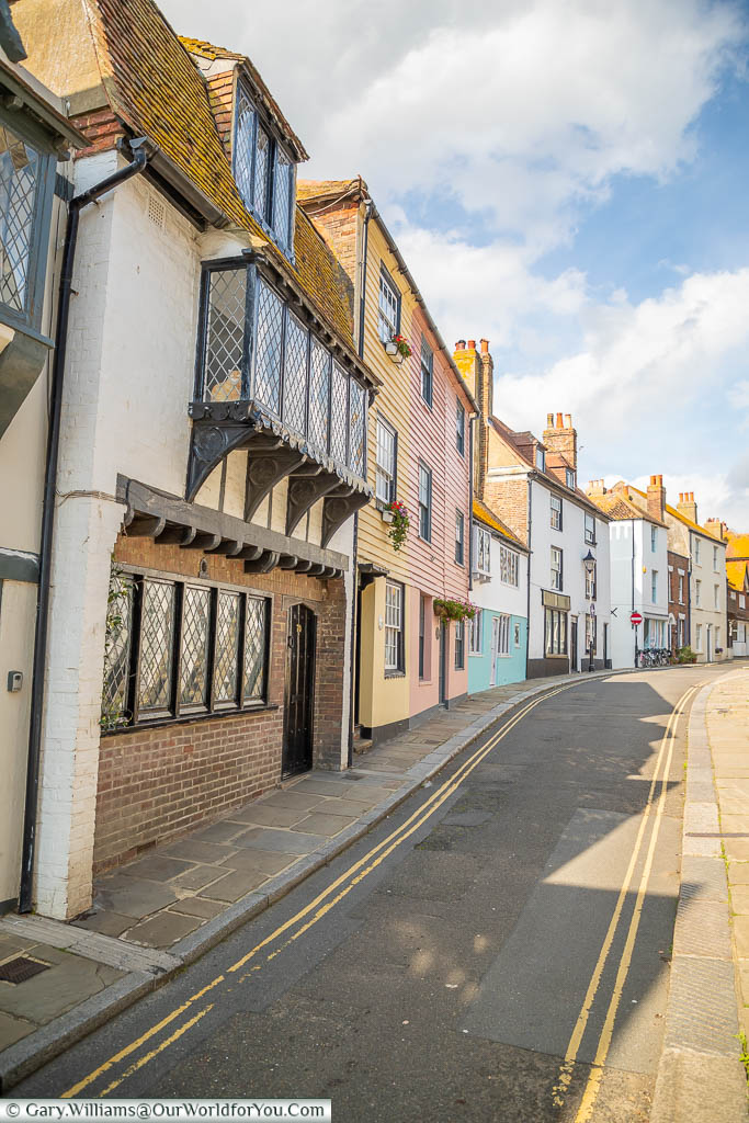 The view along All Saints' Street in Hastings with its Colourful weather-boarded cottages
