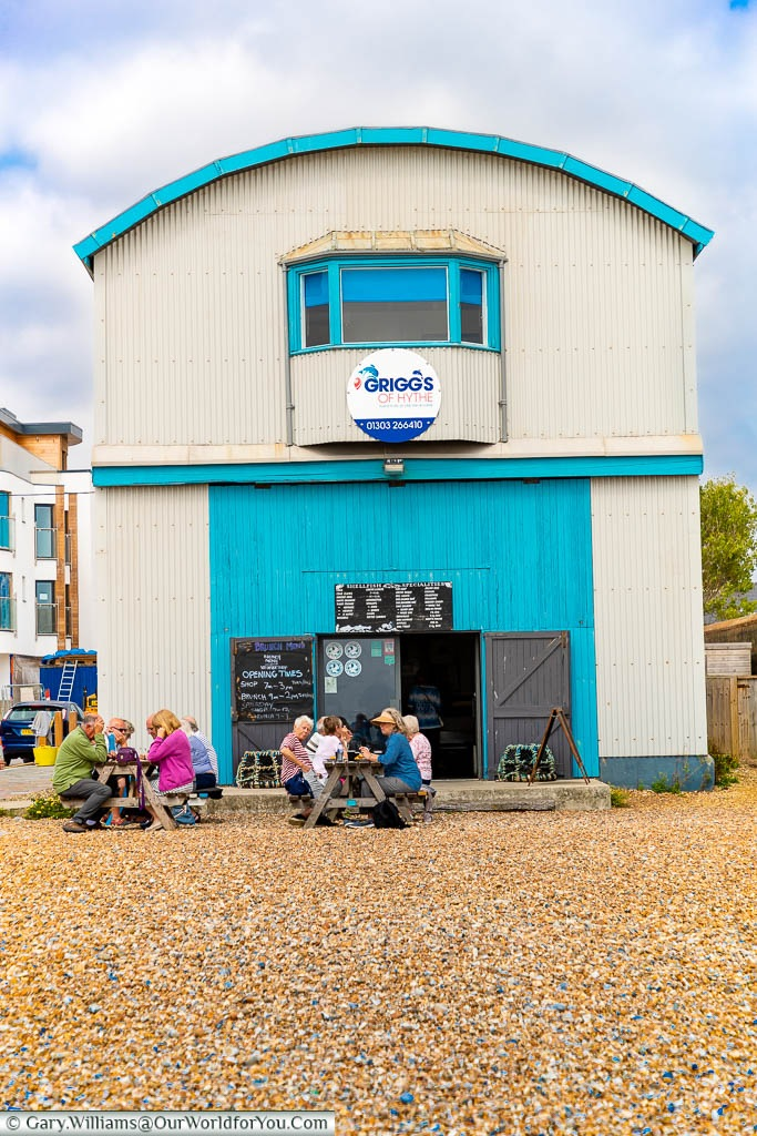 The Griggs of Hythe seafood stall right on the shale beach