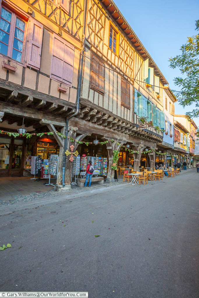 The half-timbered buildings around the medieval market square in Mirepoix