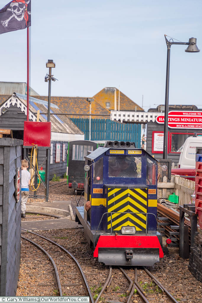 A miniature diesel locomotive that forms part of the Miniature Railway that runs along towards Hasting's pleasure beach