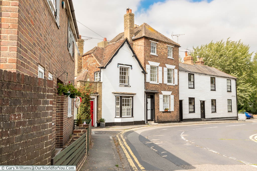 A view of the historic buildings on the quiet roads of Hythe in Kent