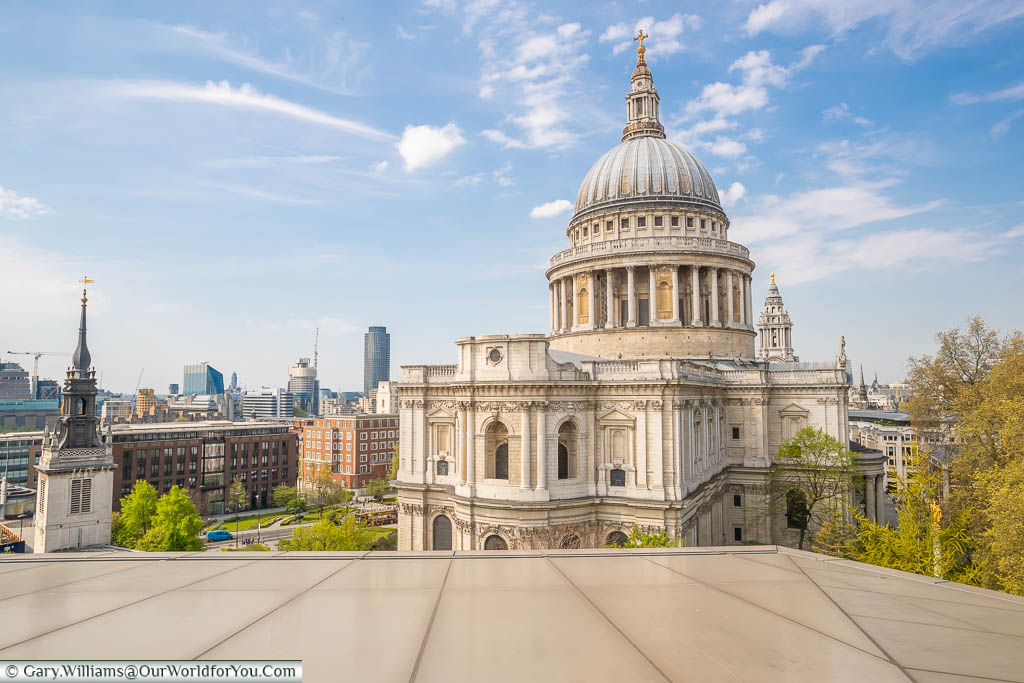 St Paul's Cathedral from the roof of One New Change, St Paul's station, London, England, UK