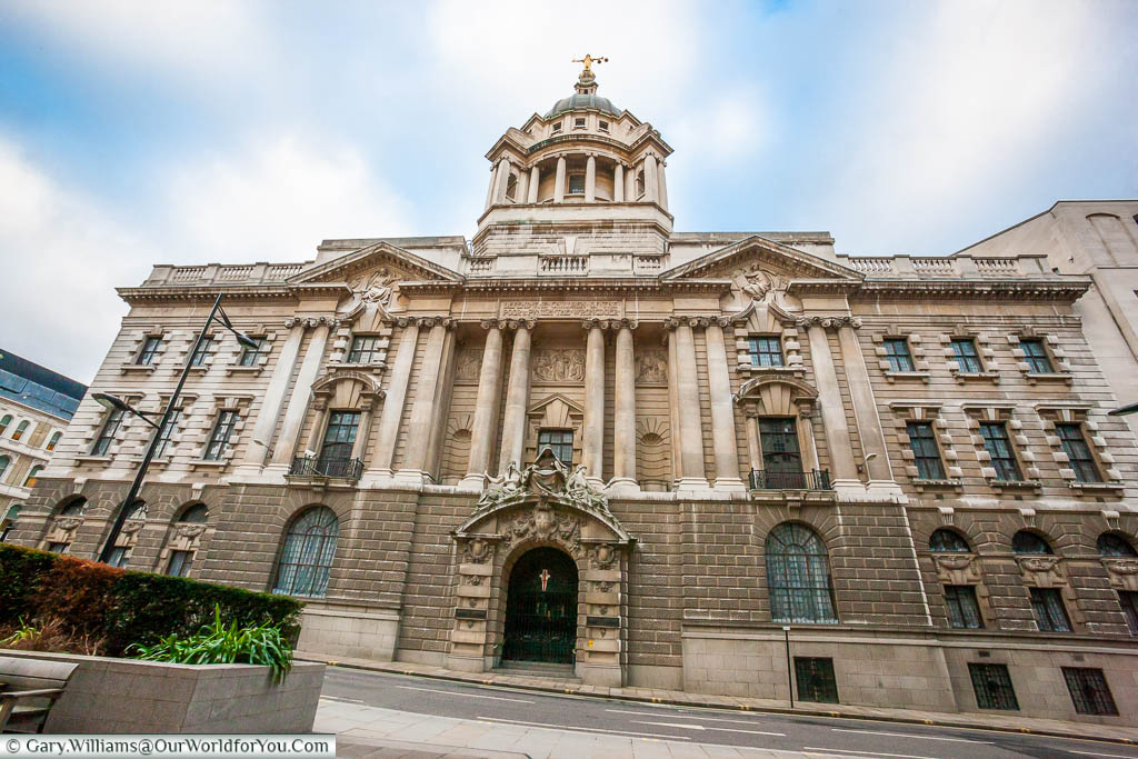 A close-up of the front of the Old Bailey, a short distance from St Paul's tube station