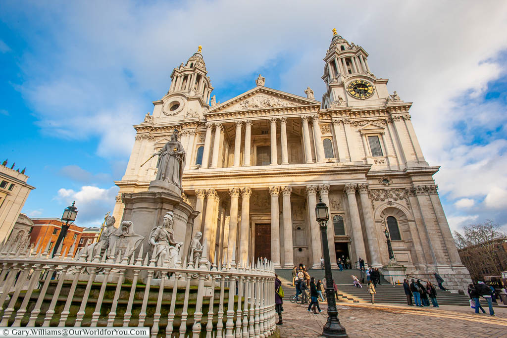The view of the front of St Paul's Cathedral from the statue to Queen Anne