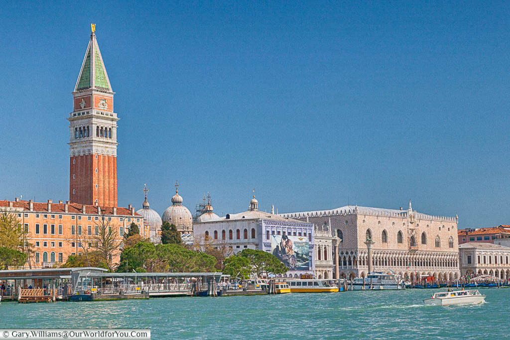 The view over the Grand Canal towards St. Mark's Square with St Mark's Campanile dominating the view