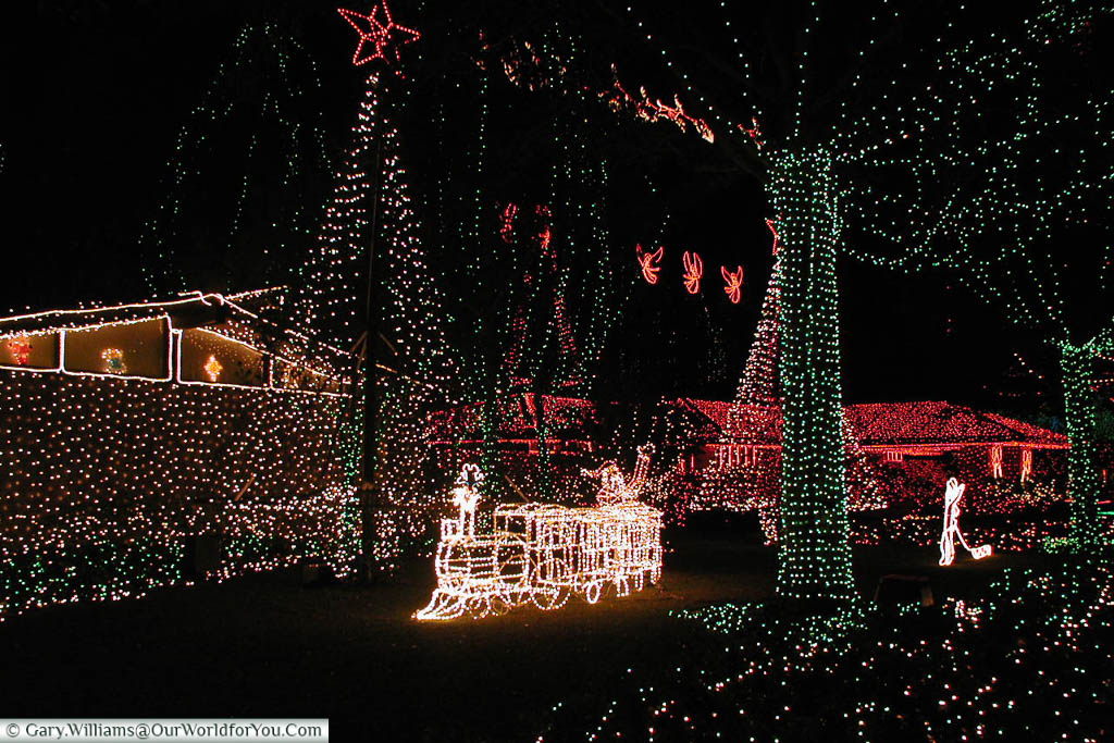 A mass of fairy lights decorating fictional homes at the MGM studios in Florida