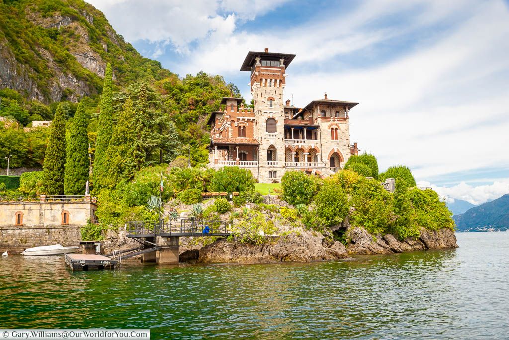 The classic late 19th century, Villa Gaeta as seen from the Lake Como that featured in the James Bond film Casino Royale
