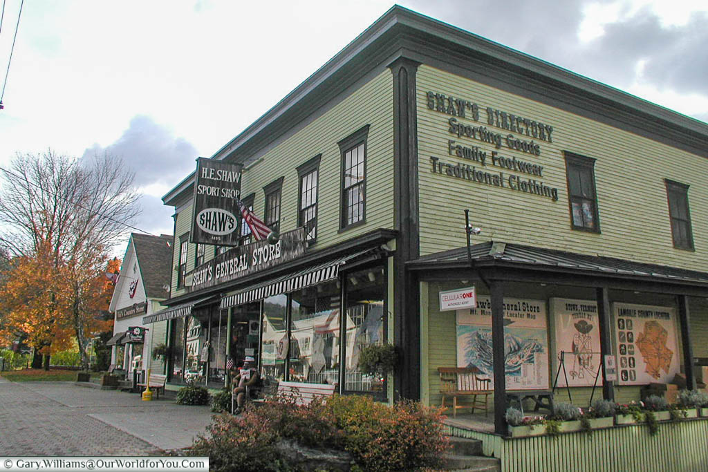Shaws General Store, a traditional wooden store in Stowe, Vermont