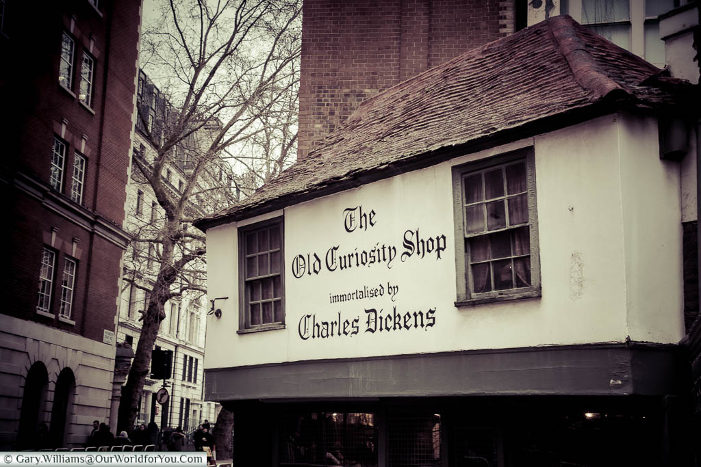 The 16th-century Old Curiosity shop in London tucked away in a side street.