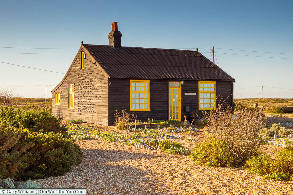 The pretty, black and yellow trimmed, Prospect Cottage, former home to Derek Jarman, at Dungeness.