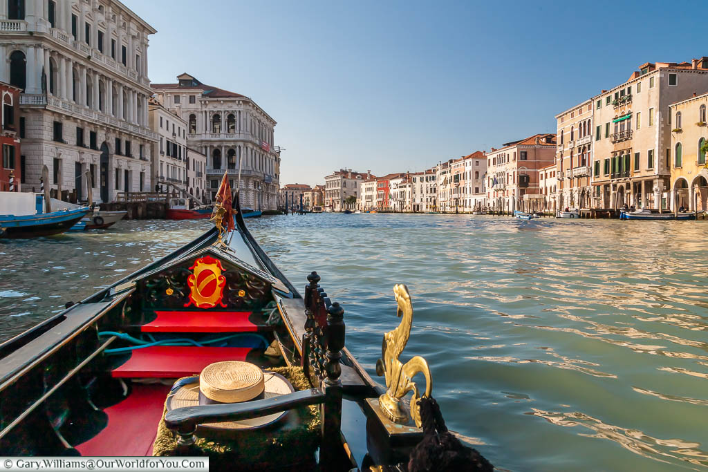 A view from inside a gondola as it travels down the Grand Canal in Venice