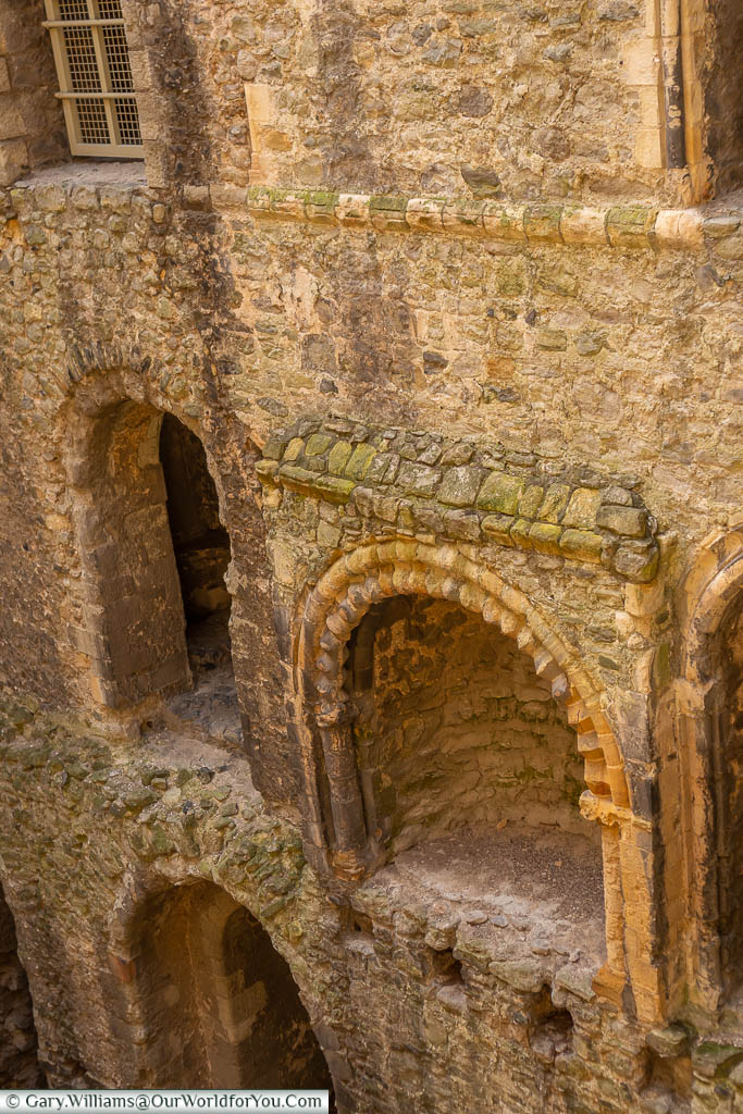 The outline of what would have been one a grand stone fireplace within Rochester castle