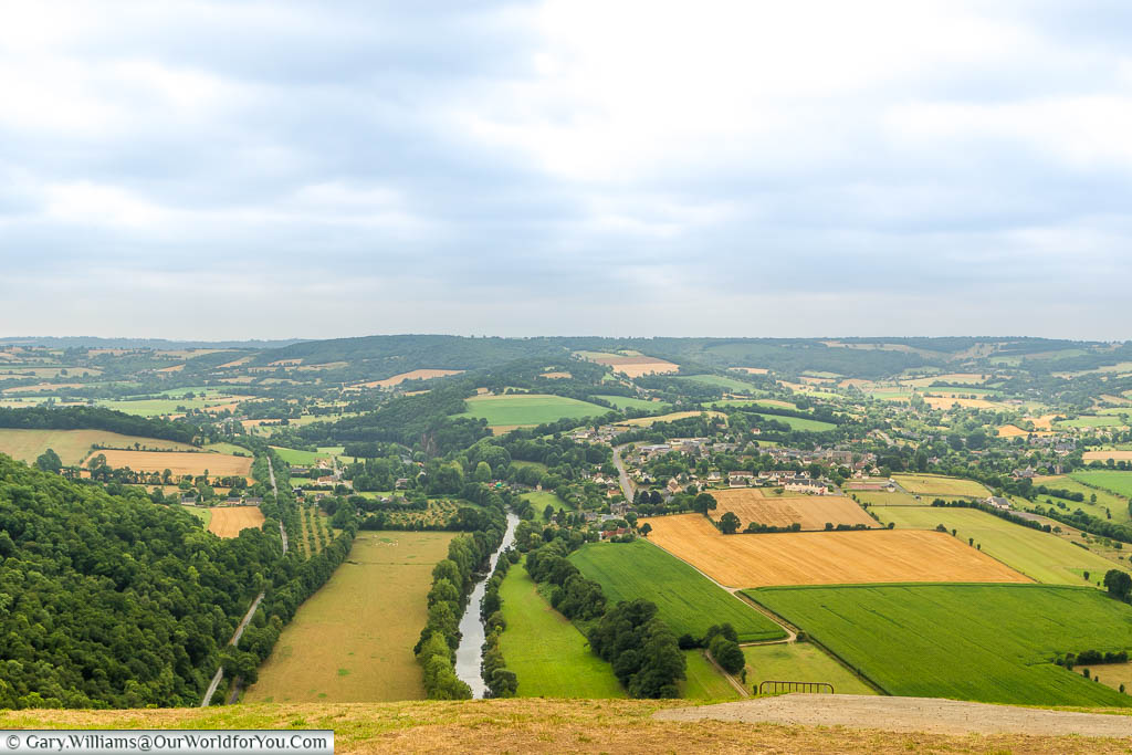 Looking over the fields, dissected by the River Orne, of the Suisse-Normande area of the Normandy region of France